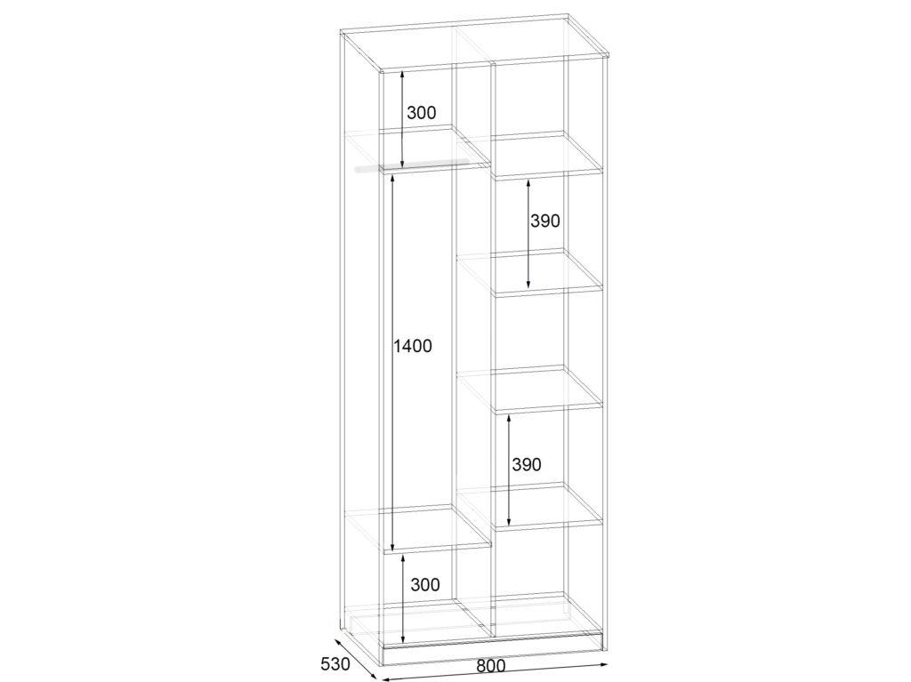 Секція №15 Шафа комбінована Фаворит схема - 800х530х2100