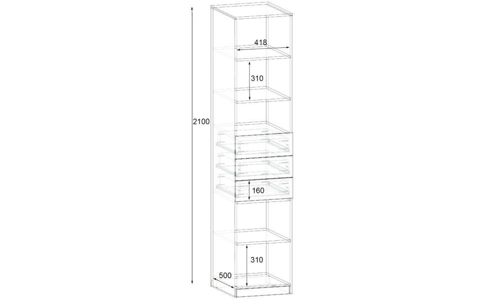 Секція №9 Пенал з ящиками Фаворит схема - 450х530х2100