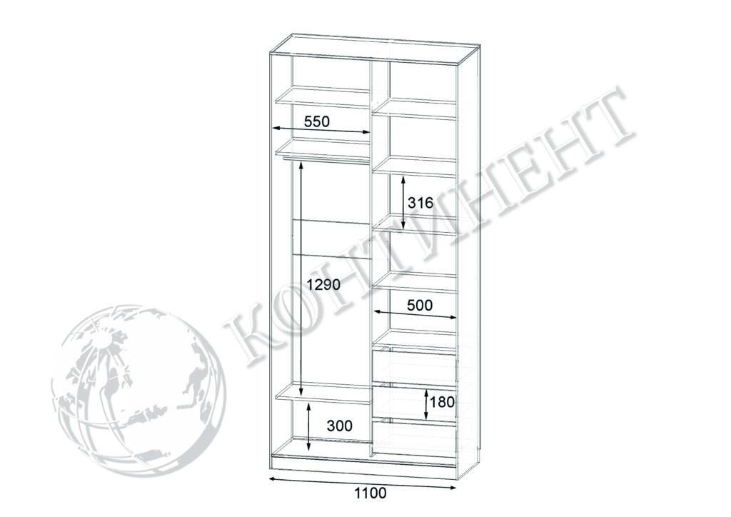 ШК-N-2 - 1100х500(600)х2400 схема