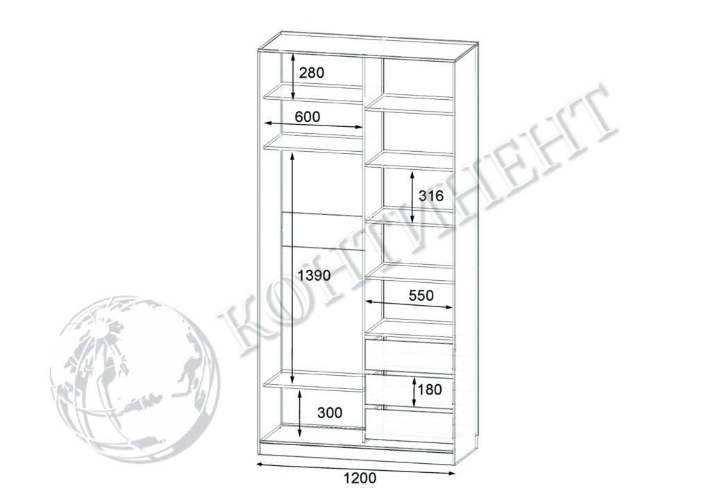ШК-N-2 - 1200х500(600)х2400 схема