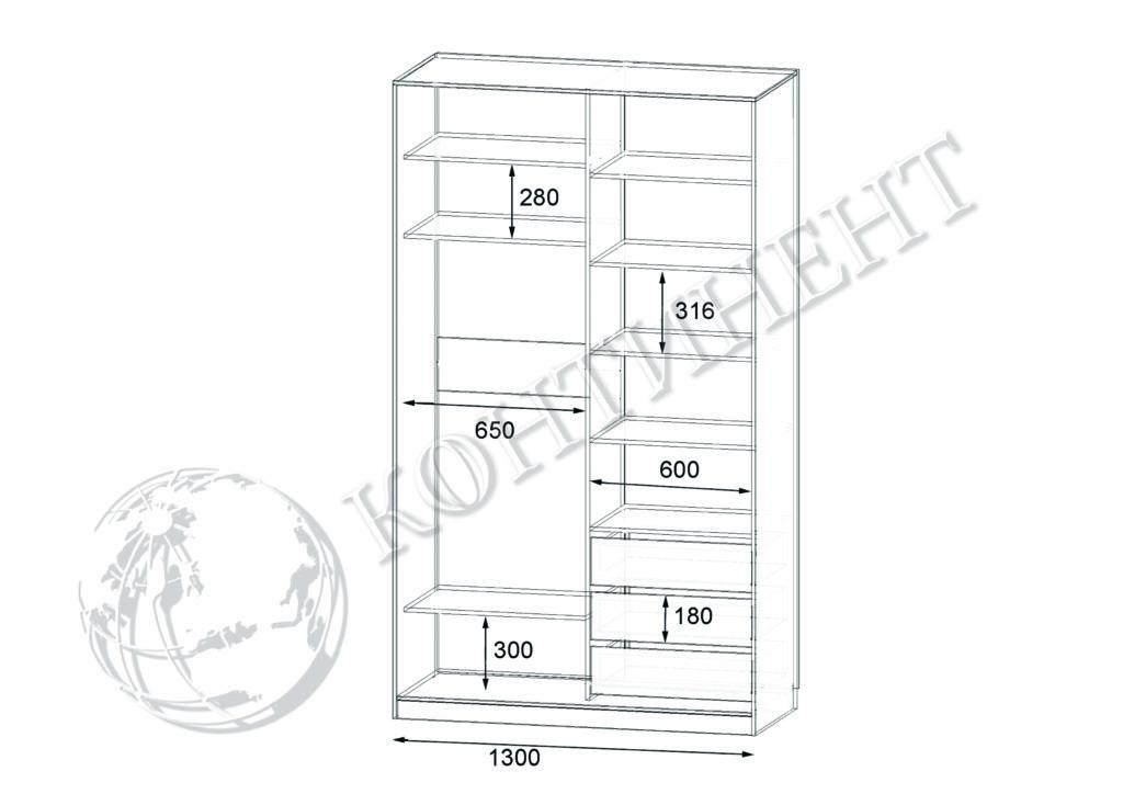 ШК-N-2 - 1300х500(600)х2400 схема