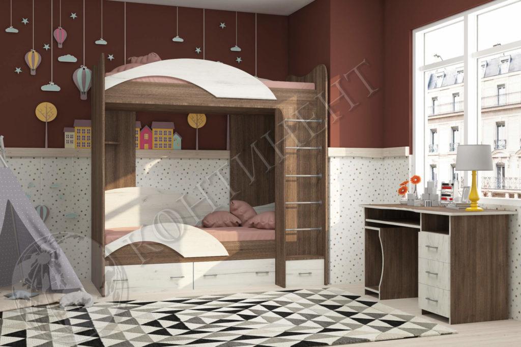 Двоповерхове ліжко (2040 х 1000 х 2000) - (сп. м. 2000 х 800)